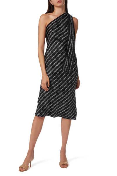 فستان بكتف واحد وطبعة سلسلة