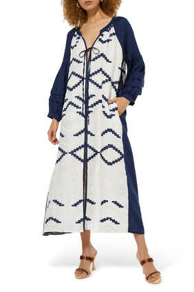 فستان متوسط الطول بنقشة تجريدية ورباط بعقدة
