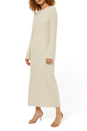 فستان متوسط الطول بنسيج مضلع