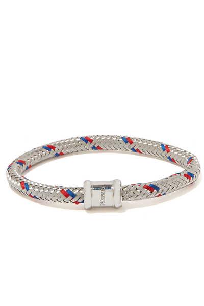 SS19 Single Steel Casing Bracelet, Polished Stainless Steel, Red/Blue L:Grey:L