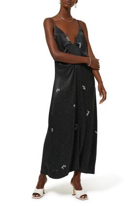 فستان ستان متوسط الطول