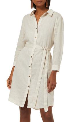 فستان بيلا بتصميم قميص كتان