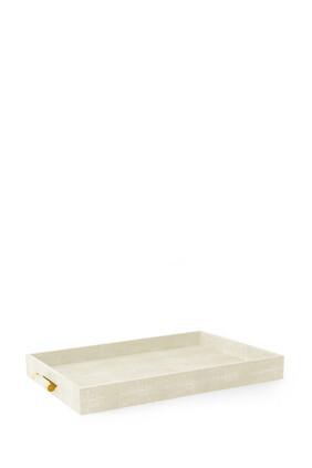 AE Classic Shagreen Butler Tray, Cream:Multi Colour:One Size