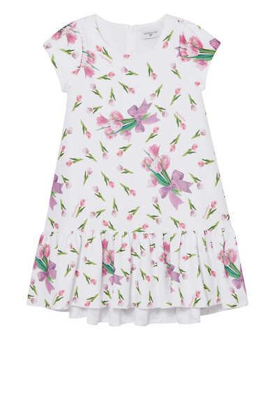 فستان بطيات ونقشة الزهور