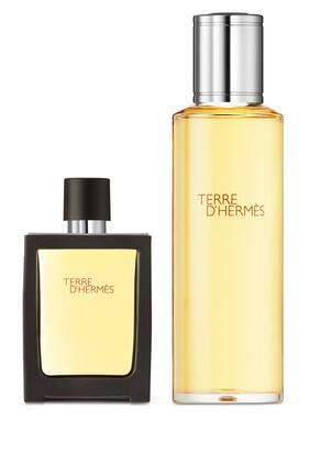 Parfum من مجموعة Terre d'Hermès، بخاخ للسفر سعة 30 مل وعبوة بديلة سعة 125 مل.