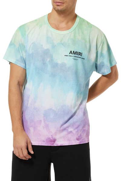 تي شيرت بطبعة بألوان مائية