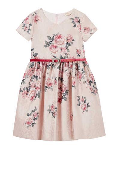 فستان بحزام ونقشة زهور