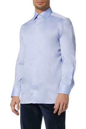قميص قطن تويل أزرق
