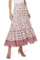 تنورة بولينا متوسطة الطول كتان بتطريزات مفرغة