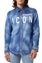قميص دينم بطبعة شعار الماركة وكلمة Icon