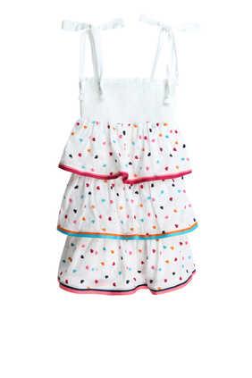 فستان بوبي بطبقات وكشكش مطاطي
