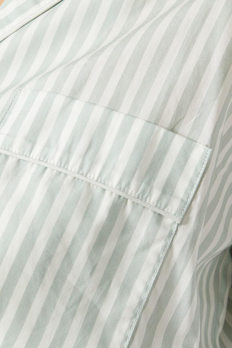 قميص البيجاما قطن مخطط مزين بتفاصيل  image number 4