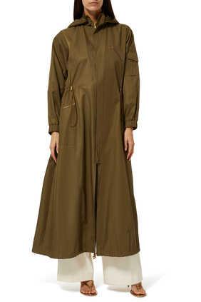 معطف مطر نجاة طويل بغطاء رأس