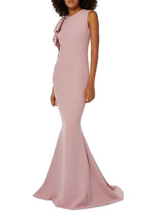 فستان سهرة بكشكش بلا أكمام