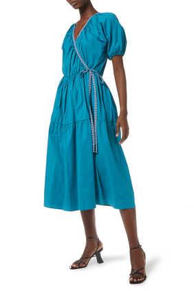 فستان قطن بعقدة جانبية