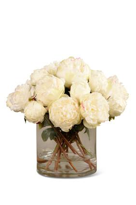 باقة زهور فاوانيا صناعية في مزهرية زجاجية