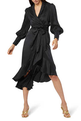 فستان حرير متوسط الطول بتصميم ملفوف