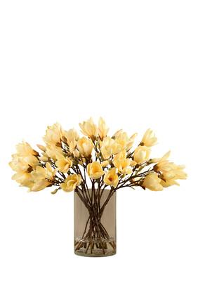 زهور ماغنوليا في مزهرية زجاجية