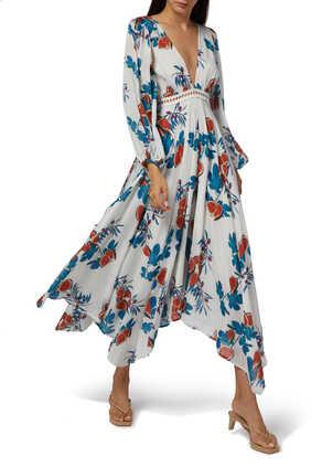 فستان ميكونوس بنقشة زهور