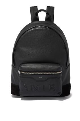 حقيبة ظهر كلاسيكية بشعار الماركة بارز الملمس