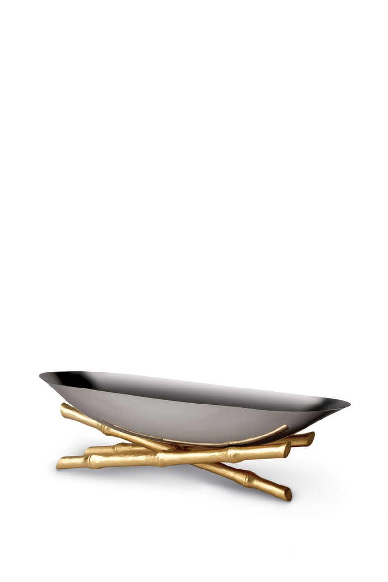 وعاء تقديم بامبو بتصميم مركب كبير image number 1