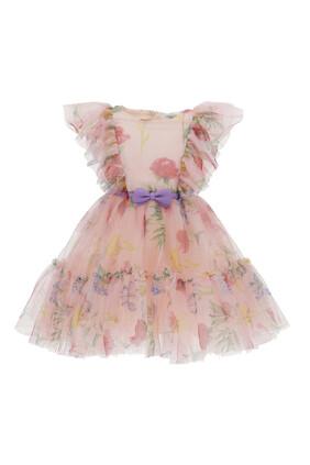 فستان تول مزين بزهور