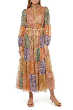 فستان برايتون متوسط الطول بطبقات
