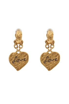 أقراط بتصميم قلب محفور بكلمة Love
