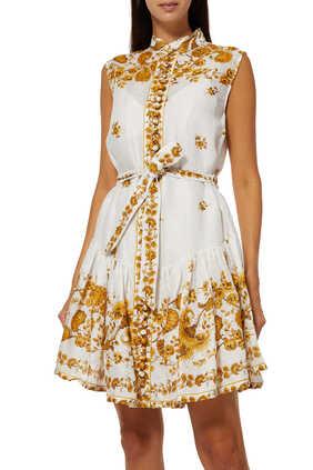فستان أميلي قصير بحافة منفوخة