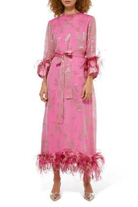 فستان بوريج مزين بأشرطة من الريش
