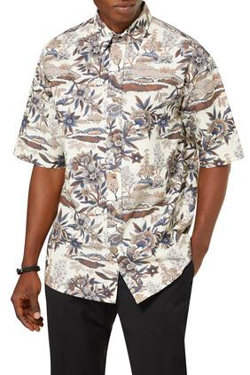 قميص بأكمام قصيرة ونقشة زهور