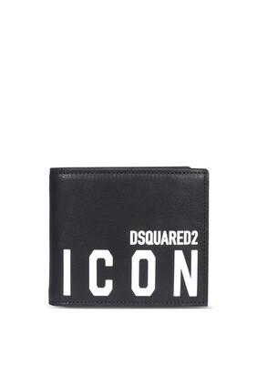 محفظة ثنائية الطي مزينة بكلمة Icon