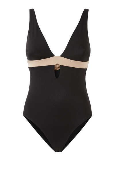 لباس سباحة قطعة واحدة سينرجي بفتحة رقبة عميقة