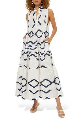 فستان متوسط الطول بطبعة تجريدية