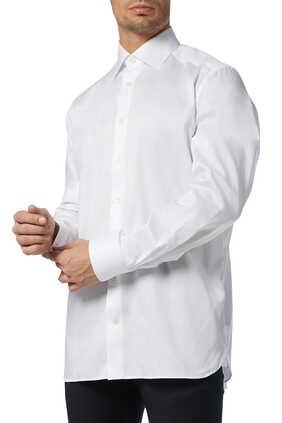 قميص قطن تويل أبيض