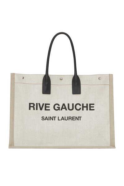 حقيبة يد جلد وكتان باسم مجموعة Rive Gauche