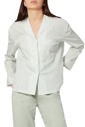 قميص البيجاما قطن مخطط مزين بتفاصيل
