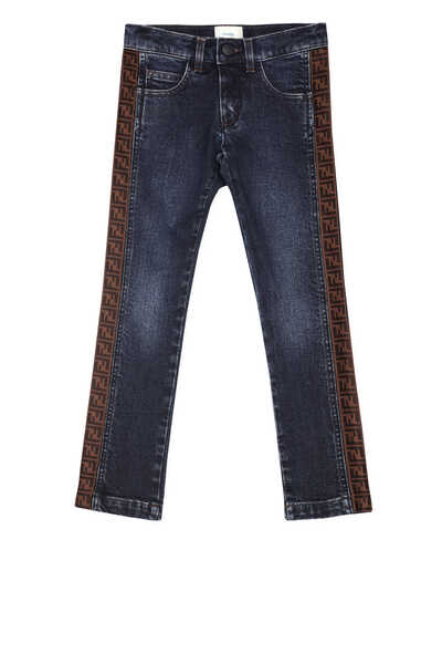 بنطال جينز أزرق بشعار الماركة