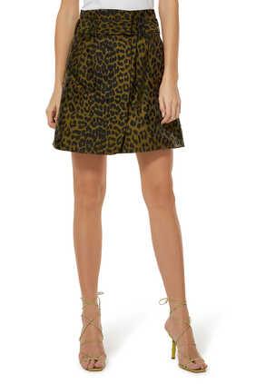 تنورة قصيرة بنقشة جلد الفهد
