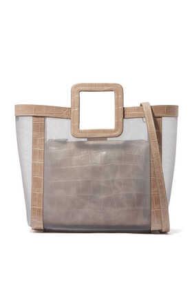 حقيبة شيرلي قماش شبكي وجلد بنقشة جلد التمساح