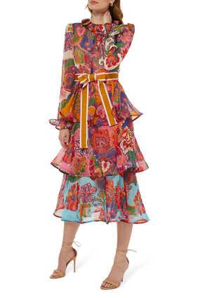 فستان لوف سترك متوسط الطول بكشكش
