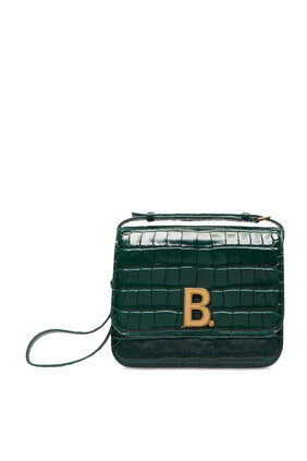 حقيبة جلد بنقشة جلد التمساح صغيرة مزينة بحلية شعار حرف B