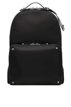 حقيبة ظهر نايلون بأشرطة مزينة بشعار VLTN