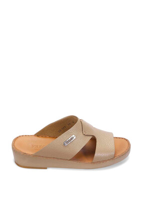 حذاء تروتر مفتوح جلد بتصميم كلاسيكي