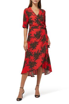 فستان بتصميم ملفوف ونقشة زهور