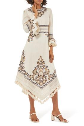فستان اليان طويل بنقشة بيزلي