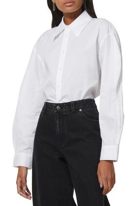 قميص ميلز بويفريند بأكمام مموجة خامات معاد تدويرها