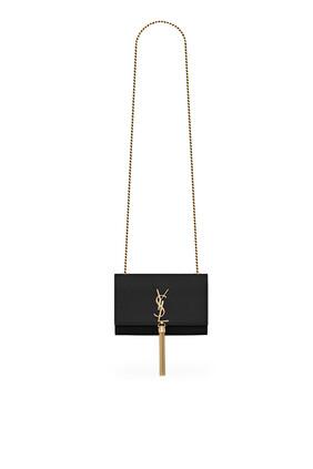 حقيبة كيت صغيرة جلد غران دي بودريه بسلسلة وشرّابات