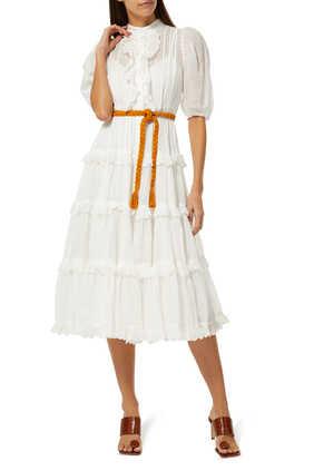 فستان أميلي كشكش بحواف صدفية