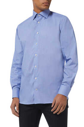 قميص بنقشة صغيرة بملمس بارز ومقاوم للتجعد